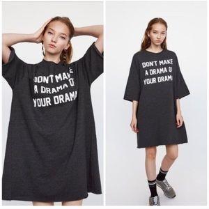 Zara Oversized Gray Sweatshirt Drama